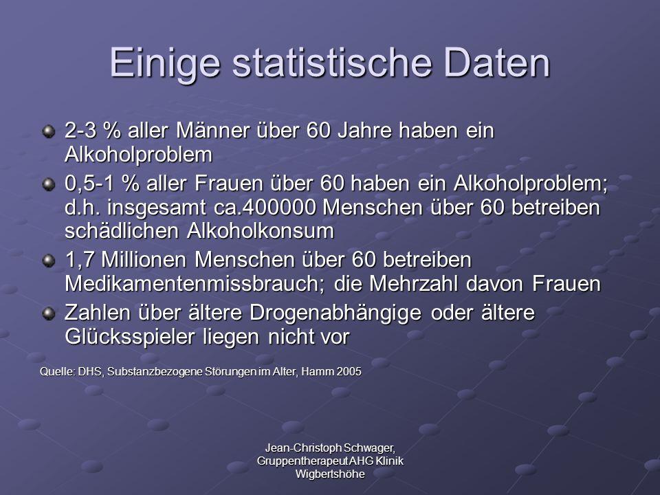 Jean-Christoph Schwager, Gruppentherapeut AHG Klinik Wigbertshöhe Einige statistische Daten 2-3 % aller Männer über 60 Jahre haben ein Alkoholproblem