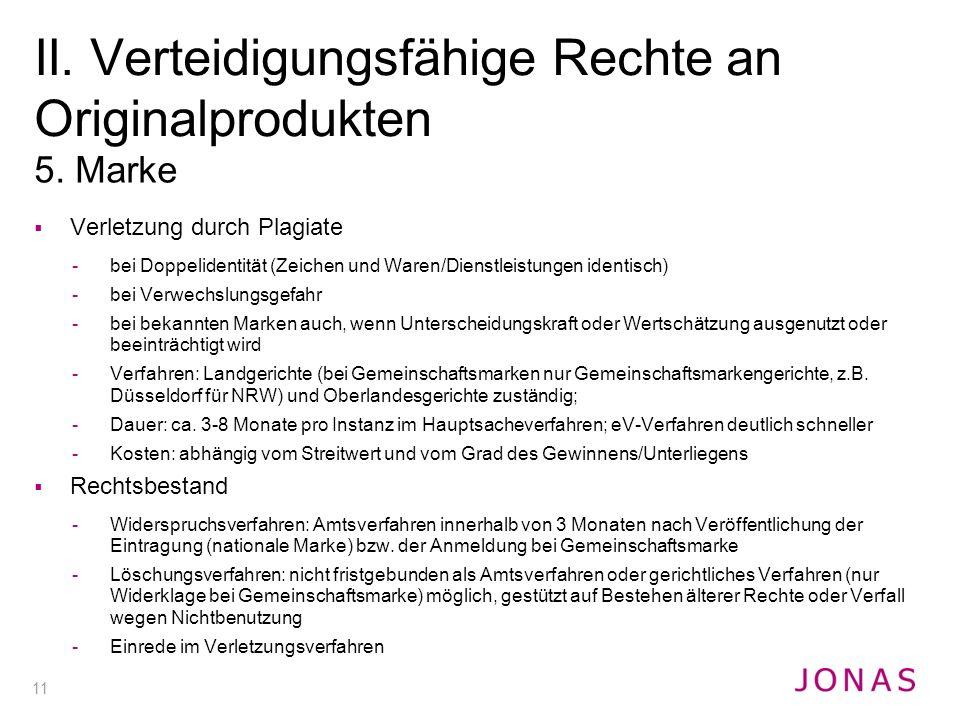 11 5. Marke  Verletzung durch Plagiate -bei Doppelidentität (Zeichen und Waren/Dienstleistungen identisch) -bei Verwechslungsgefahr -bei bekannten Ma