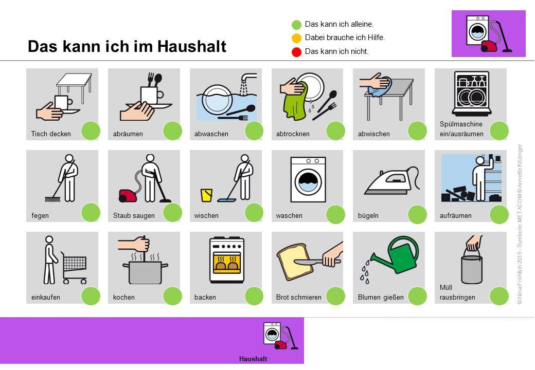 © Nina Fröhlich 2015 - Symbole: METACOM © Annette Kitzinger Das kann ich im Haushalt Haushalt Tisch decken fegen einkaufen abräumen Staub saugen koche