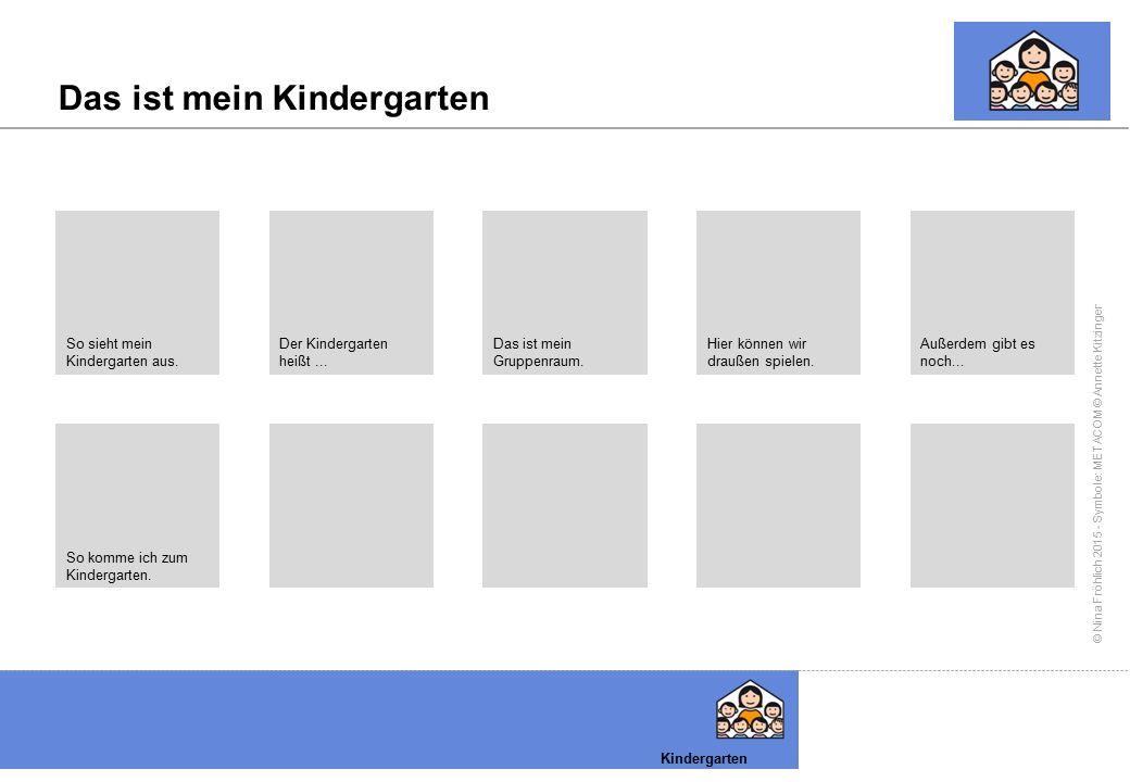 © Nina Fröhlich 2015 - Symbole: METACOM © Annette Kitzinger Das ist mein Kindergarten Kindergarten So sieht mein Kindergarten aus. Der Kindergarten he