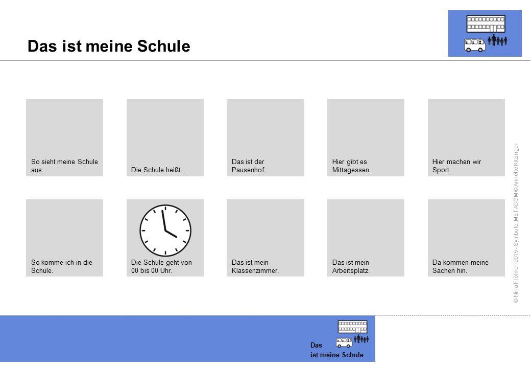 © Nina Fröhlich 2015 - Symbole: METACOM © Annette Kitzinger Das ist meine Schule Das ist meine Schule So sieht meine Schule aus. Die Schule heißt... D