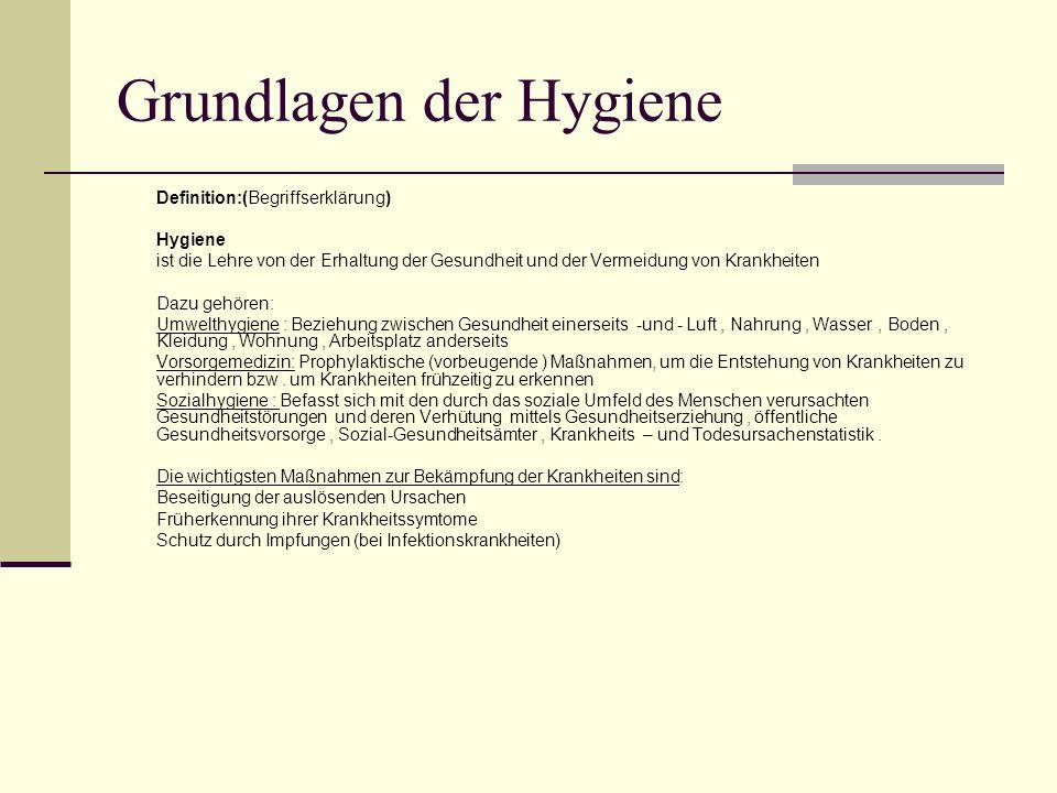 Grundlagen der Hygiene Definition:(Begriffserklärung) Hygiene ist die Lehre von der Erhaltung der Gesundheit und der Vermeidung von Krankheiten Dazu g