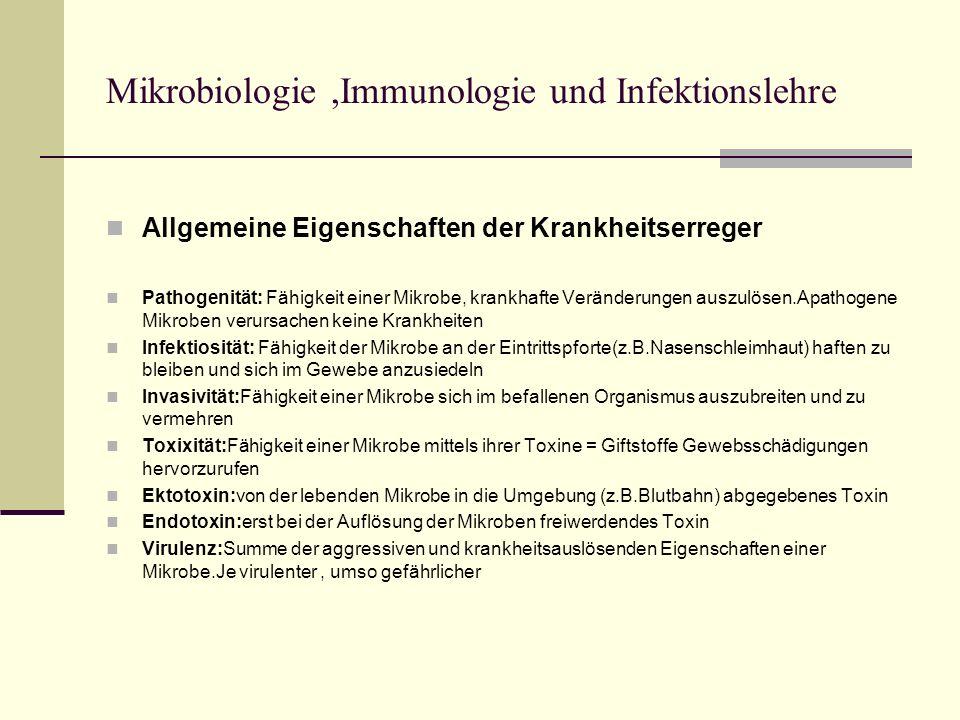 Mikrobiologie,Immunologie und Infektionslehre Allgemeine Eigenschaften der Krankheitserreger Pathogenität: Fähigkeit einer Mikrobe, krankhafte Verände