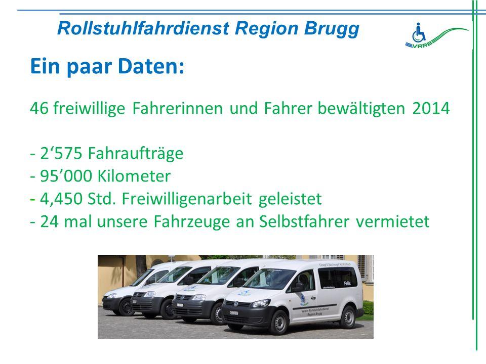 Ein paar Daten: 46 freiwillige Fahrerinnen und Fahrer bewältigten 2014 - 2'575 Fahraufträge - 95'000 Kilometer - 4'450 Std.