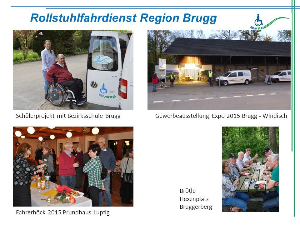 Rollstuhlfahrdienst Region Brugg Schülerprojekt mit Bezirksschule BruggGewerbeausstellung Expo 2015 Brugg - Windisch Fahrerhöck 2015 Prundhaus Lupfig Brötle Hexenplatz Bruggerberg