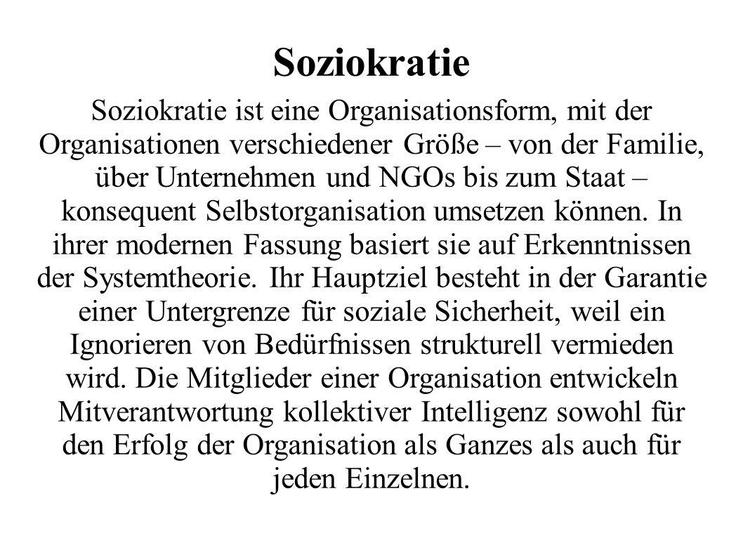 Soziokratie Soziokratie ist eine Organisationsform, mit der Organisationen verschiedener Größe – von der Familie, über Unternehmen und NGOs bis zum Staat – konsequent Selbstorganisation umsetzen können.