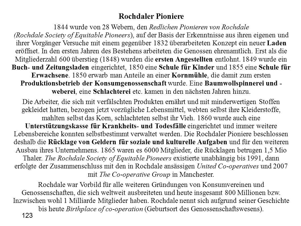 Rochdaler Pioniere 1844 wurde von 28 Webern, den Redlichen Pionieren von Rochdale (Rochdale Society of Equitable Pioneers), auf der Basis der Erkenntnisse aus ihren eigenen und ihrer Vorgänger Versuche mit einem gegenüber 1832 überarbeiteten Konzept ein neuer Laden eröffnet.