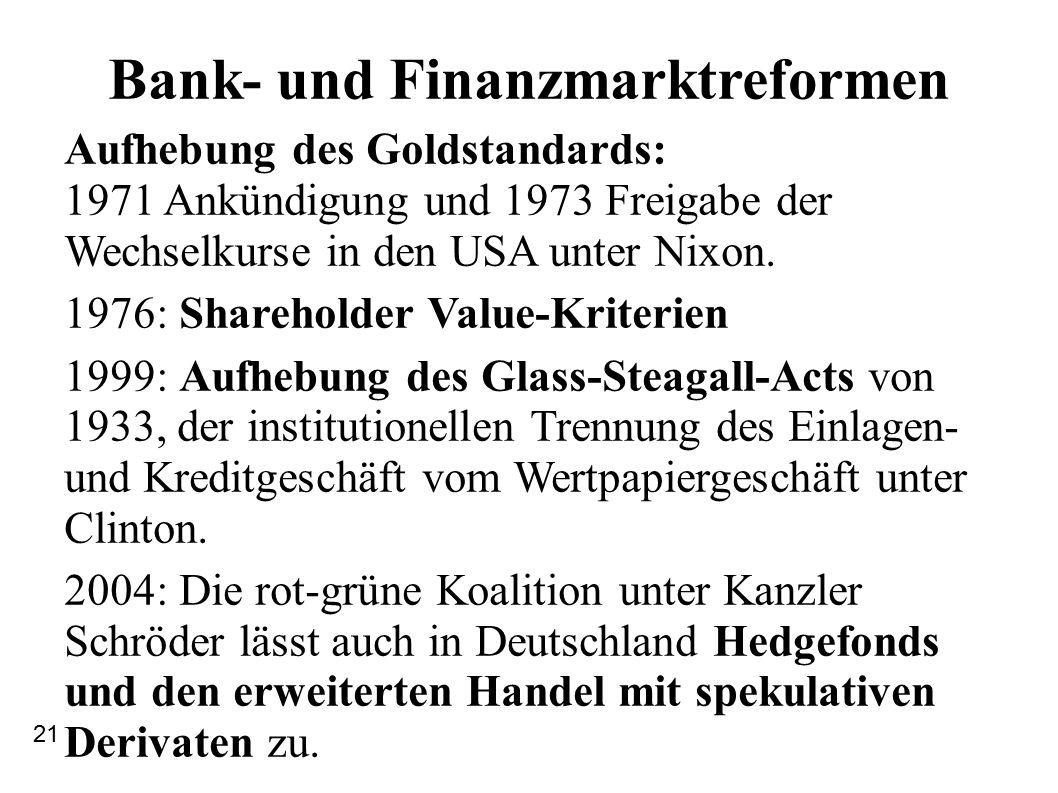 Bank- und Finanzmarktreformen Aufhebung des Goldstandards: 1971 Ankündigung und 1973 Freigabe der Wechselkurse in den USA unter Nixon.