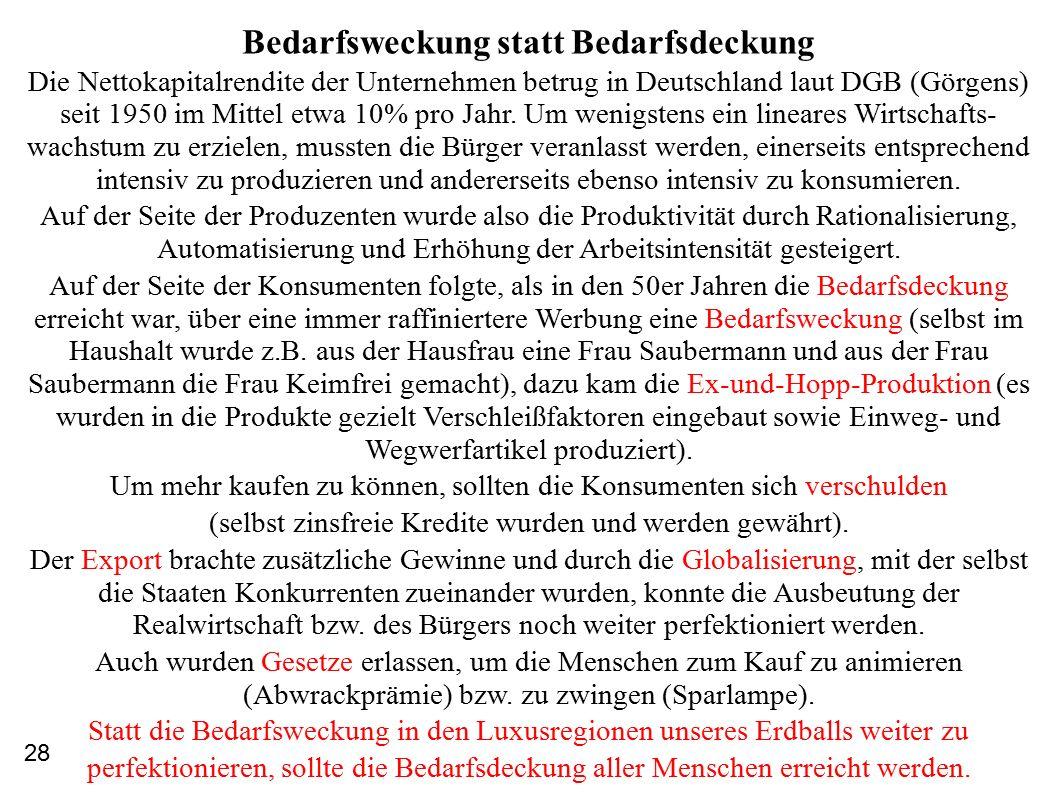 Bedarfsweckung statt Bedarfsdeckung Die Nettokapitalrendite der Unternehmen betrug in Deutschland laut DGB (Görgens) seit 1950 im Mittel etwa 10% pro Jahr.