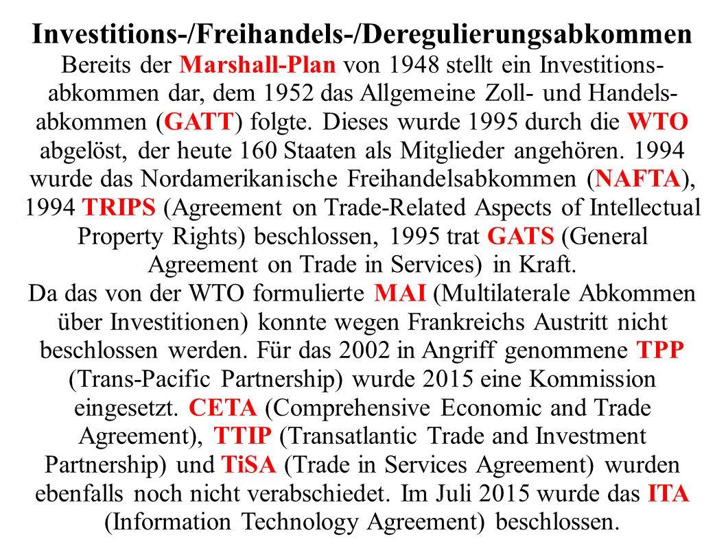 Investitions-/Freihandels-/Deregulierungsabkommen Bereits der Marshall-Plan von 1948 stellt ein Investitions- abkommen dar, dem 1952 das Allgemeine Zoll- und Handels- abkommen (GATT) folgte.