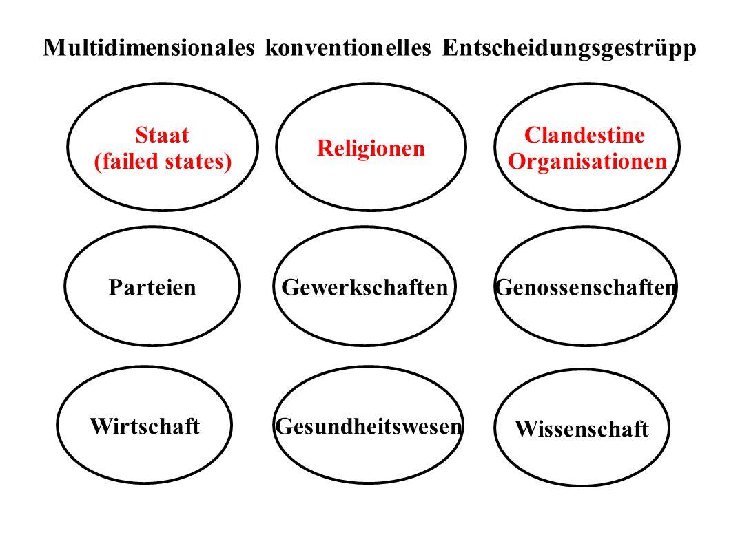 Staat (failed states) Wirtschaft Wissenschaft Parteien Clandestine Organisationen Multidimensionales konventionelles Entscheidungsgestrüpp GenossenschaftenGewerkschaften Gesundheitswesen Religionen