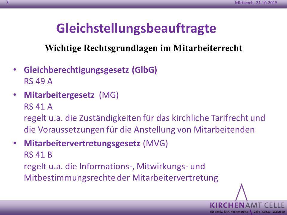 Gleichstellungsbeauftragte Gleichberechtigungsgesetz (GlbG) RS 49 A Mitarbeitergesetz (MG) RS 41 A regelt u.a. die Zuständigkeiten für das kirchliche