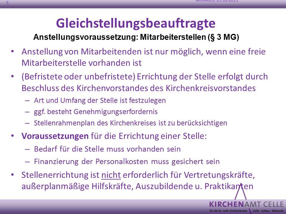 Gleichstellungsbeauftragte Anstellung von Mitarbeitenden ist nur möglich, wenn eine freie Mitarbeiterstelle vorhanden ist (Befristete oder unbefristet