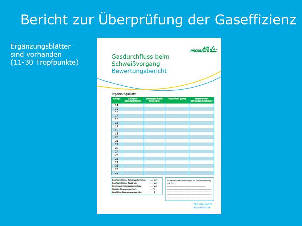 Bericht zur Überprüfung der Gaseffizienz Ergänzungsblätter sind vorhanden (11-30 Tropfpunkte)