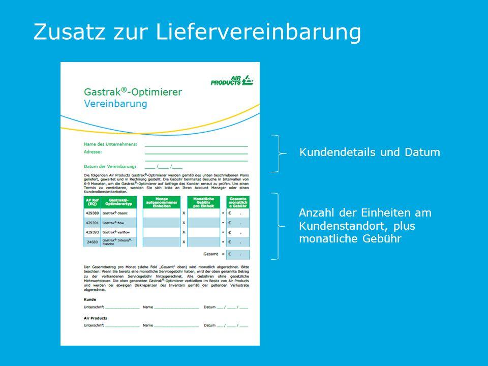 Zusatz zur Liefervereinbarung Kundendetails und Datum Anzahl der Einheiten am Kundenstandort, plus monatliche Gebühr