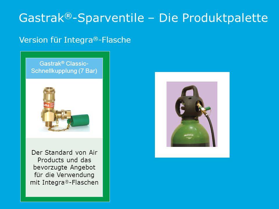 Gastrak ® -Sparventile – Die Produktpalette Version für Integra ® -Flasche Gastrak ® Classic- Schnellkupplung (7 Bar) Der Standard von Air Products und das bevorzugte Angebot für die Verwendung mit Integra ® -Flaschen