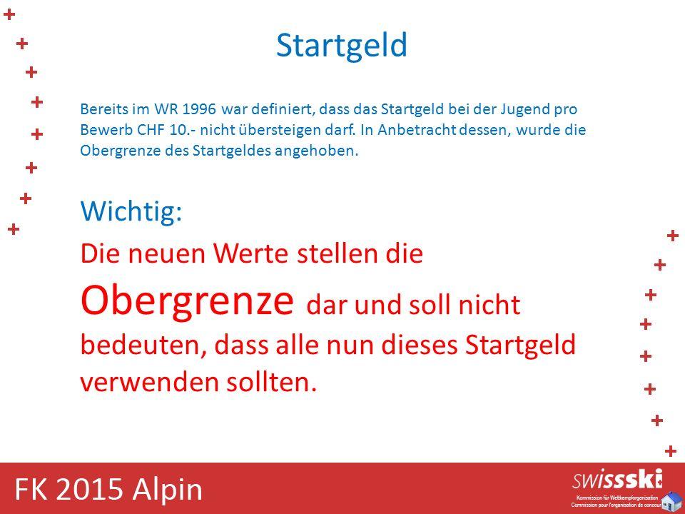 Startgeld Bereits im WR 1996 war definiert, dass das Startgeld bei der Jugend pro Bewerb CHF 10.- nicht übersteigen darf.