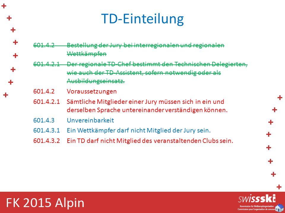 TD-Einteilung 601.4.2Bestellung der Jury bei interregionalen und regionalen Wettkämpfen 601.4.2.1Der regionale TD-Chef bestimmt den Technischen Delegierten, wie auch der TD-Assistent, sofern notwendig oder als Ausbildungseinsatz.