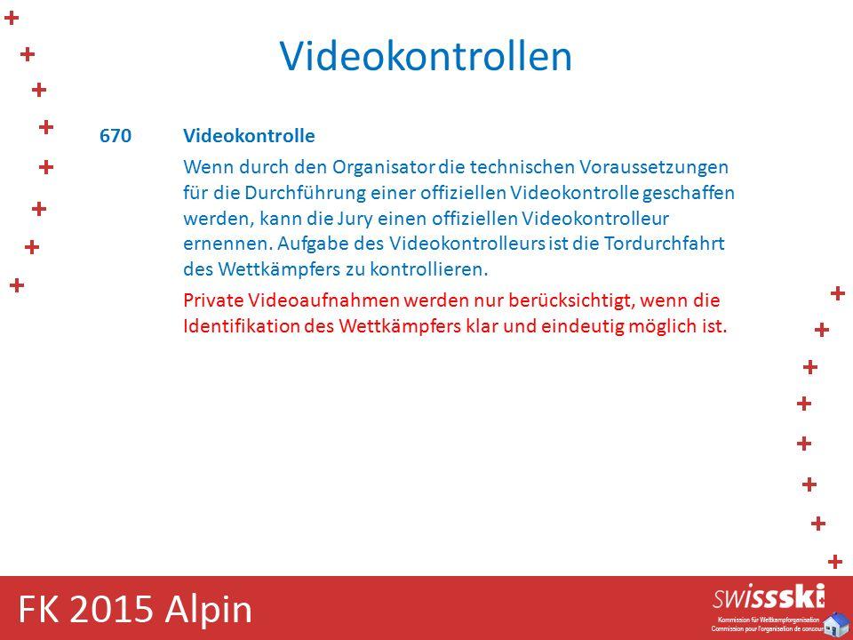 Videokontrollen 670Videokontrolle Wenn durch den Organisator die technischen Voraussetzungen für die Durchführung einer offiziellen Videokontrolle geschaffen werden, kann die Jury einen offiziellen Videokontrolleur ernennen.