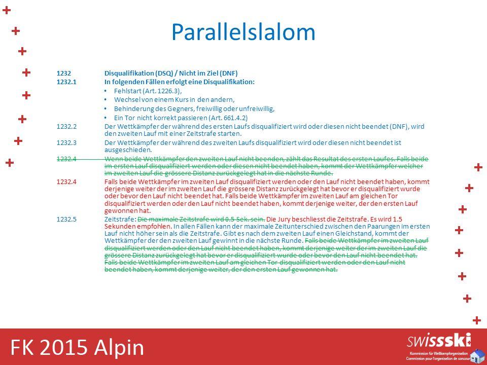 Parallelslalom 1232Disqualifikation (DSQ) / Nicht im Ziel (DNF) 1232.1In folgenden Fällen erfolgt eine Disqualifikation: Fehlstart (Art. 1226.3), Wech