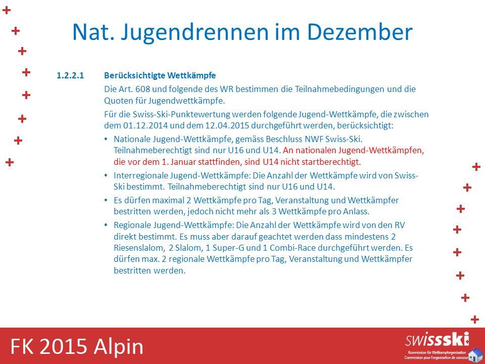 Nat. Jugendrennen im Dezember 1.2.2.1Berücksichtigte Wettkämpfe Die Art. 608 und folgende des WR bestimmen die Teilnahmebedingungen und die Quoten für