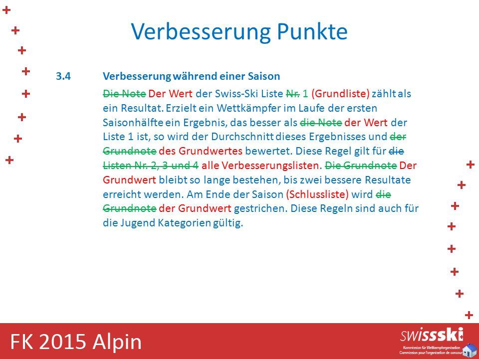 Verbesserung Punkte 3.4Verbesserung während einer Saison Die Note Der Wert der Swiss-Ski Liste Nr. 1 (Grundliste) zählt als ein Resultat. Erzielt ein