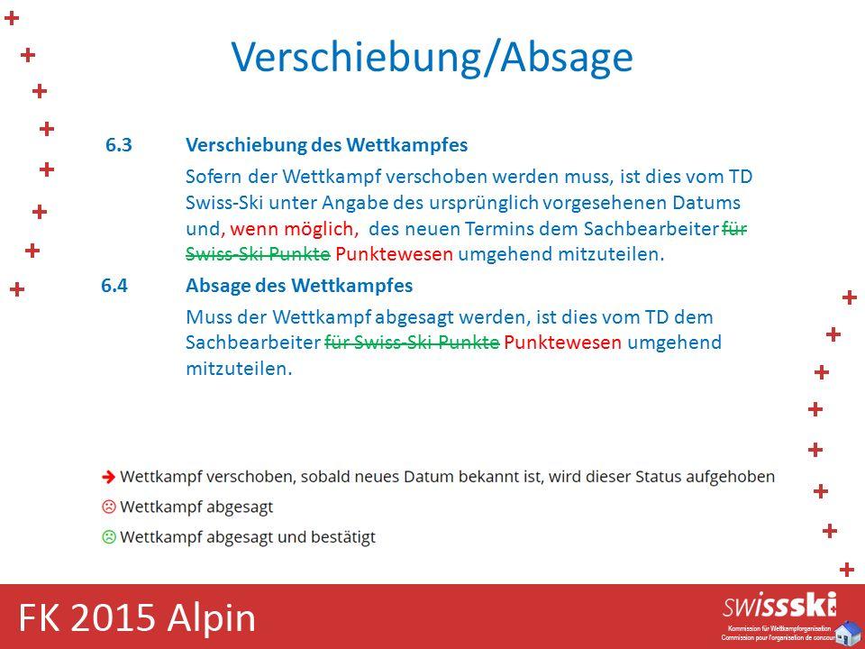 Verschiebung/Absage 6.3Verschiebung des Wettkampfes Sofern der Wettkampf verschoben werden muss, ist dies vom TD Swiss-Ski unter Angabe des ursprünglich vorgesehenen Datums und, wenn möglich, des neuen Termins dem Sachbearbeiter für Swiss-Ski Punkte Punktewesen umgehend mitzuteilen.