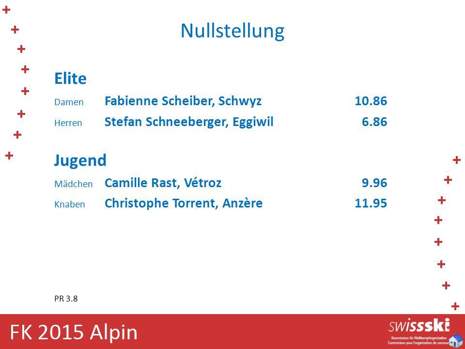 Nullstellung Elite Damen Fabienne Scheiber, Schwyz10.86 Herren Stefan Schneeberger, Eggiwil 6.86 Jugend Mädchen Camille Rast, Vétroz 9.96 Knaben Chris