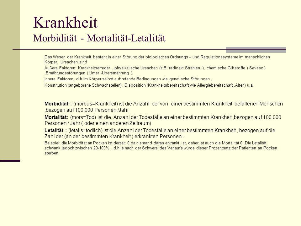 Krankheit Morbidität - Mortalität-Letalität Das Wesen der Krankheit besteht in einer Störung der biologischen Ordnungs – und Regulationssysteme im menschlichen Körper.