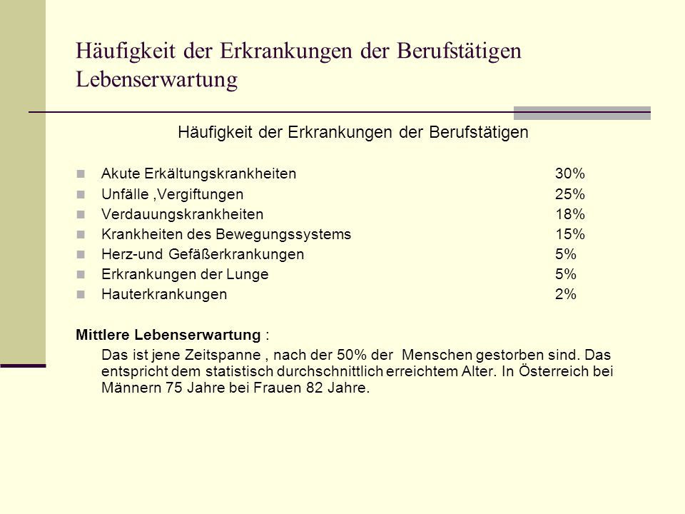 Häufigkeit der Erkrankungen der Berufstätigen Lebenserwartung Häufigkeit der Erkrankungen der Berufstätigen Akute Erkältungskrankheiten30% Unfälle,Ver