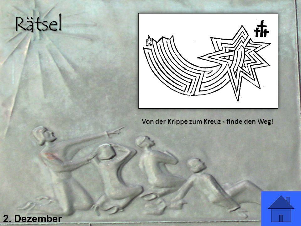 2. Dezember Rätsel Von der Krippe zum Kreuz - finde den Weg!