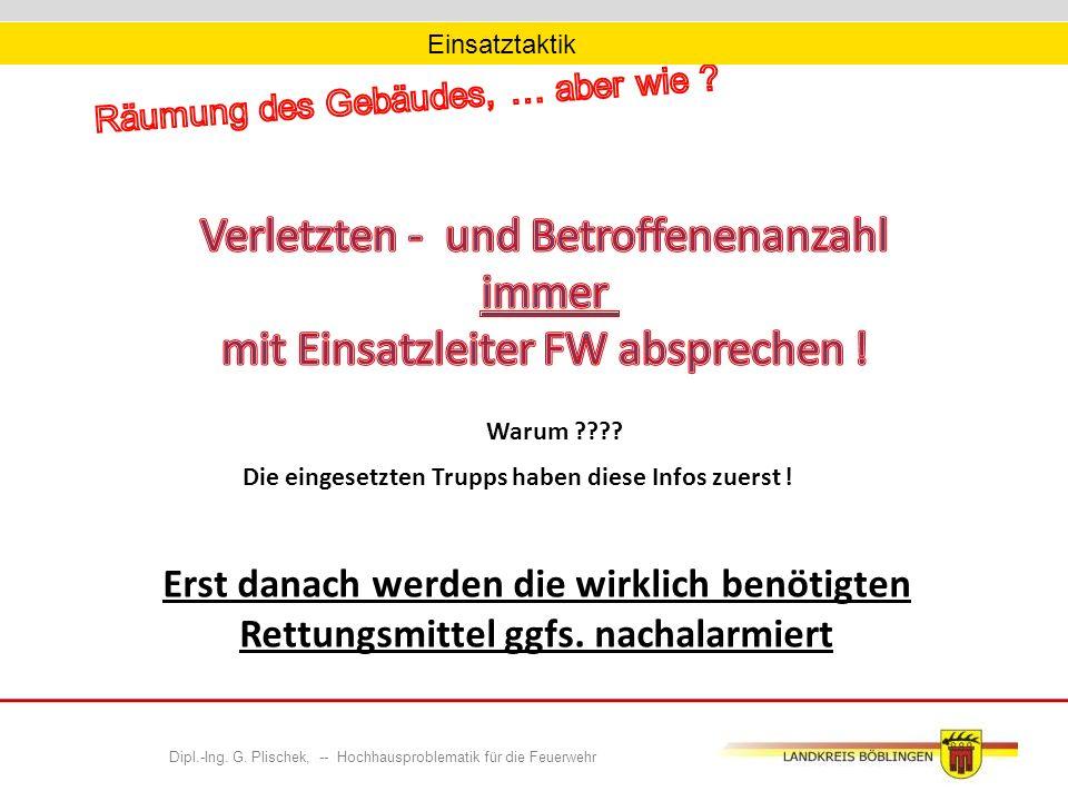 Dipl.-Ing.G. Plischek, -- Hochhausproblematik für die Feuerwehr Warum ???.