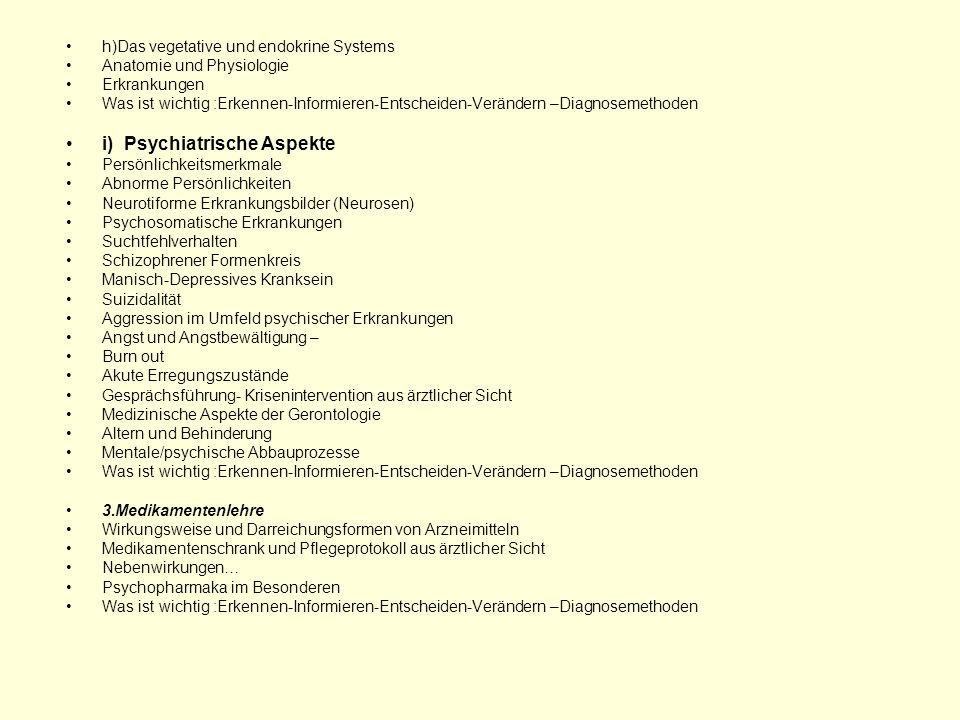 h)Das vegetative und endokrine Systems Anatomie und Physiologie Erkrankungen Was ist wichtig :Erkennen-Informieren-Entscheiden-Verändern –Diagnosemeth