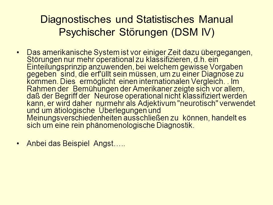 Diagnostisches und Statistisches Manual Psychischer Störungen (DSM IV) Das amerikanische System ist vor einiger Zeit dazu übergegangen, Störungen nur