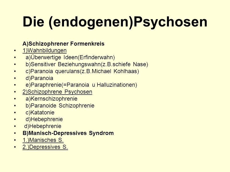 Die (endogenen)Psychosen A)Schizophrener Formenkreis 1)Wahnbildungen a)Überwertige Ideen(Erfinderwahn) b)Sensitiver Beziehungswahn(z.B.schiefe Nase) c