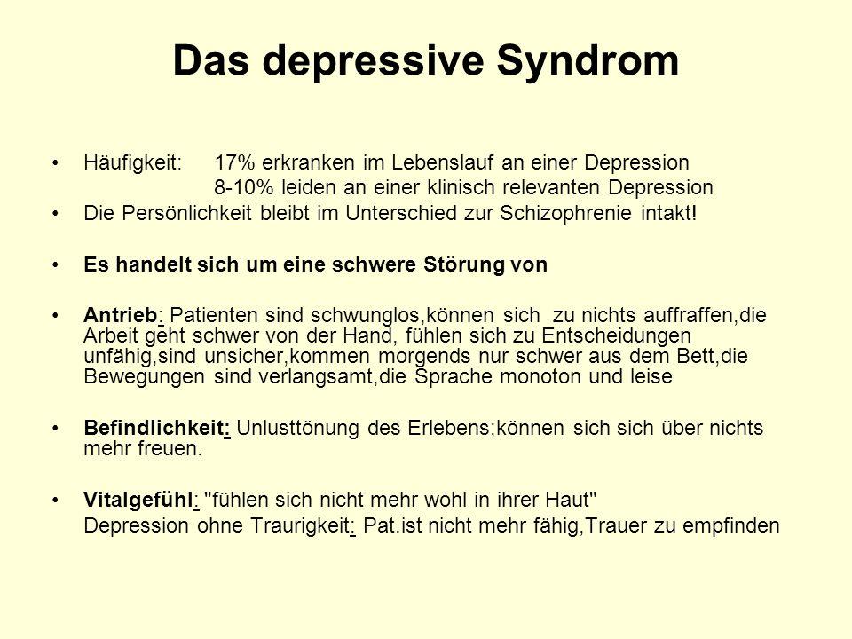 Das depressive Syndrom Häufigkeit: 17% erkranken im Lebenslauf an einer Depression 8-10% leiden an einer klinisch relevanten Depression Die Persönlich