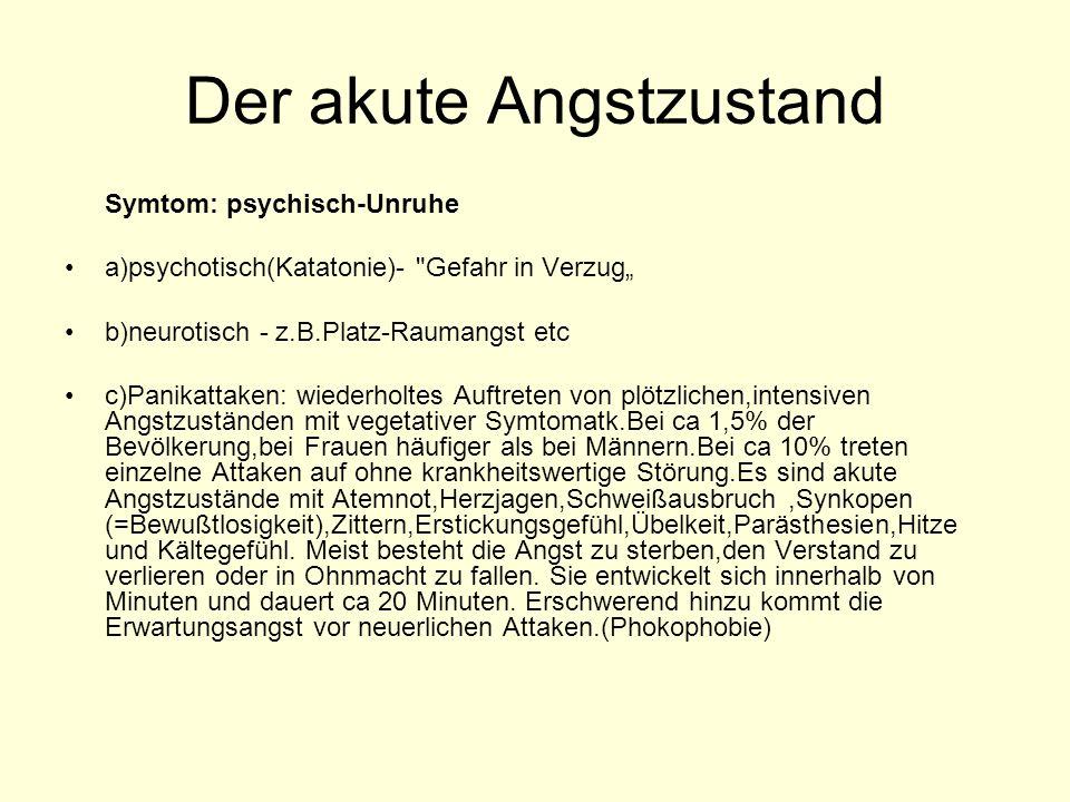 Der akute Angstzustand Symtom: psychisch-Unruhe a)psychotisch(Katatonie)-