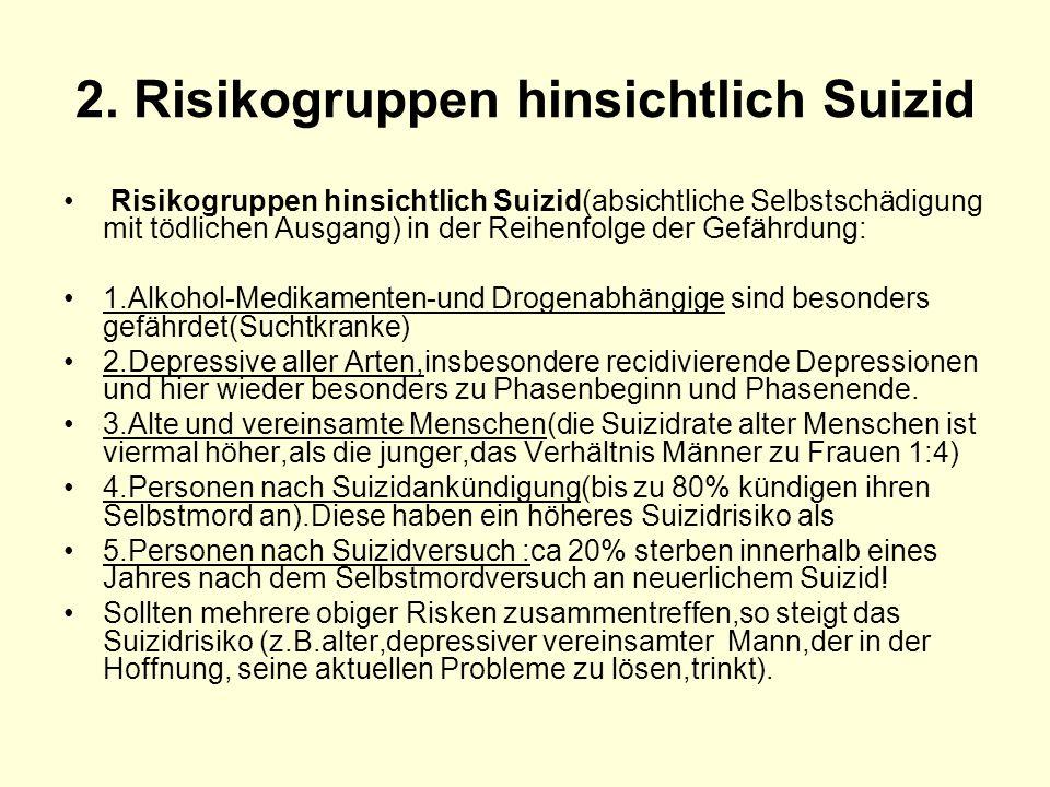 2. Risikogruppen hinsichtlich Suizid Risikogruppen hinsichtlich Suizid(absichtliche Selbstschädigung mit tödlichen Ausgang) in der Reihenfolge der Gef