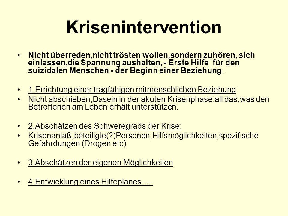 Krisenintervention Nicht überreden,nicht trösten wollen,sondern zuhören, sich einlassen,die Spannung aushalten, - Erste Hilfe für den suizidalen Mensc