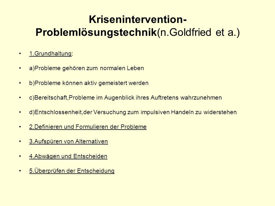 Krisenintervention- Problemlösungstechnik(n.Goldfried et a.) 1.Grundhaltung: a)Probleme gehören zum normalen Leben b)Probleme können aktiv gemeistert