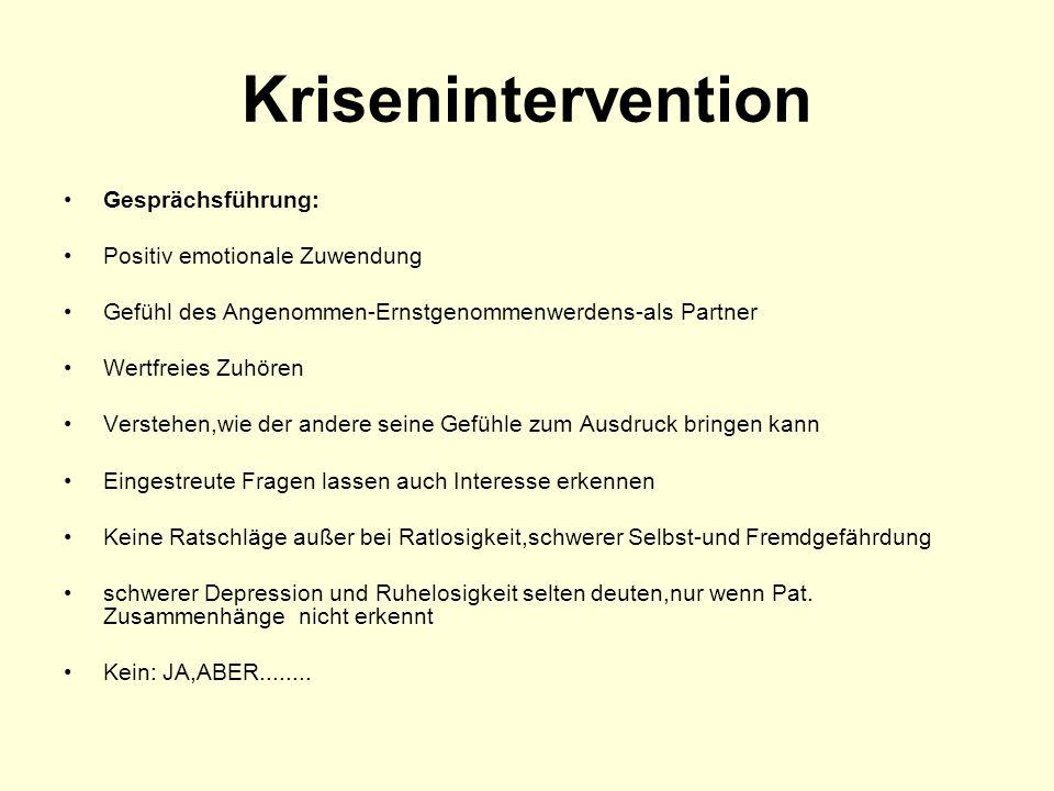 Krisenintervention Gesprächsführung: Positiv emotionale Zuwendung Gefühl des Angenommen-Ernstgenommenwerdens-als Partner Wertfreies Zuhören Verstehen,