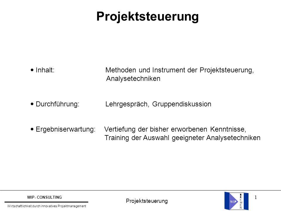 1 Projektsteuerung  Inhalt: Methoden und Instrument der Projektsteuerung, Analysetechniken  Durchführung: Lehrgespräch, Gruppendiskussion  Ergebnis