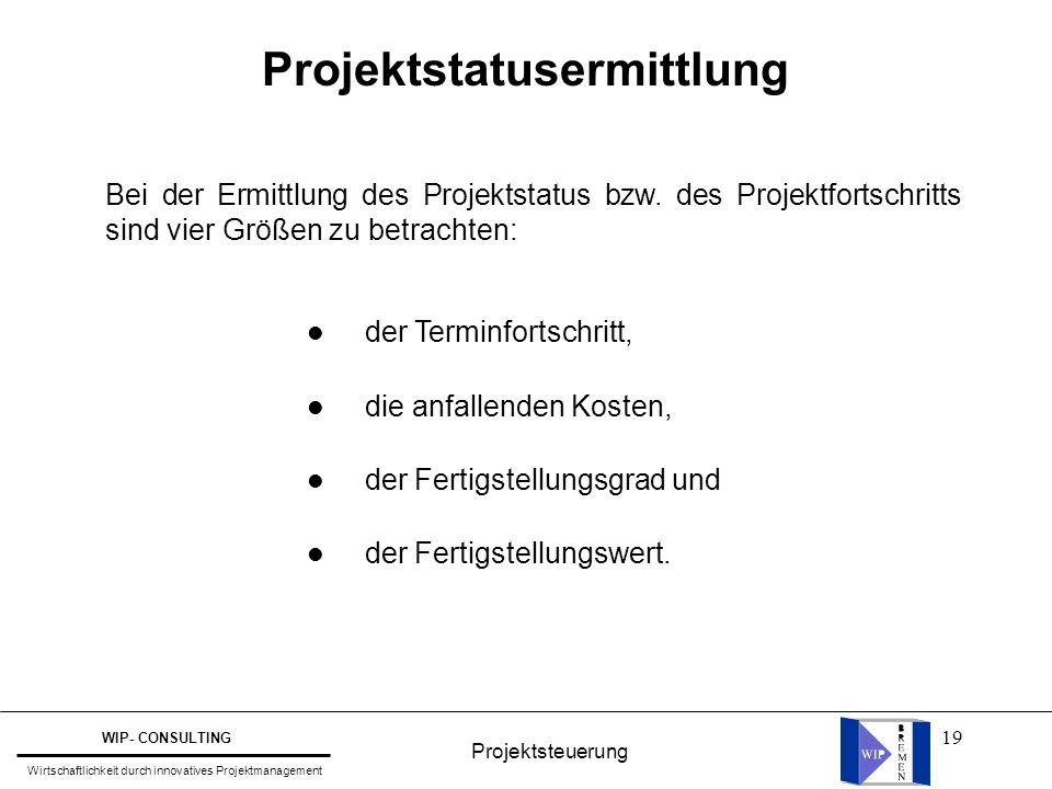 19 Projektstatusermittlung Bei der Ermittlung des Projektstatus bzw. des Projektfortschritts sind vier Größen zu betrachten: l der Terminfortschritt,