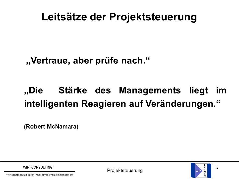 """2 Leitsätze der Projektsteuerung """"Vertraue, aber prüfe nach."""" """"Die Stärke des Managements liegt im intelligenten Reagieren auf Veränderungen."""" (Robert"""
