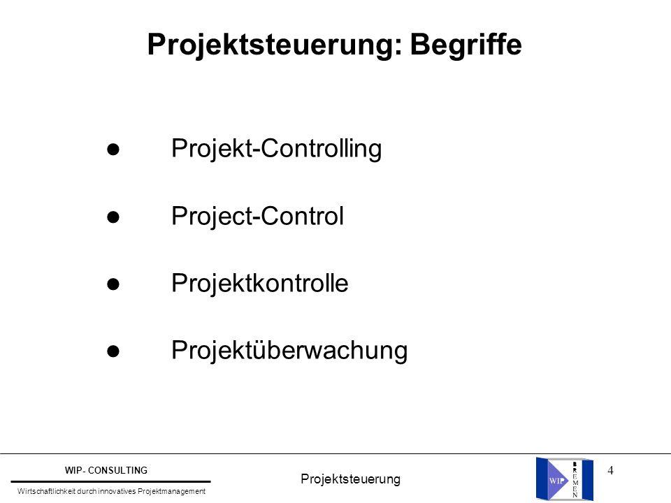 4 Projektsteuerung: Begriffe l Projekt-Controlling l Project-Control l Projektkontrolle l Projektüberwachung Projektsteuerung WIP- CONSULTING Wirtscha