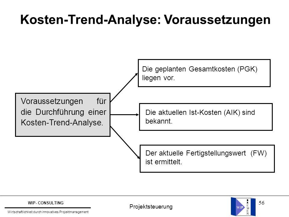 56 Kosten-Trend-Analyse: Voraussetzungen Voraussetzungen für die Durchführung einer Kosten-Trend-Analyse. Die geplanten Gesamtkosten (PGK) liegen vor.
