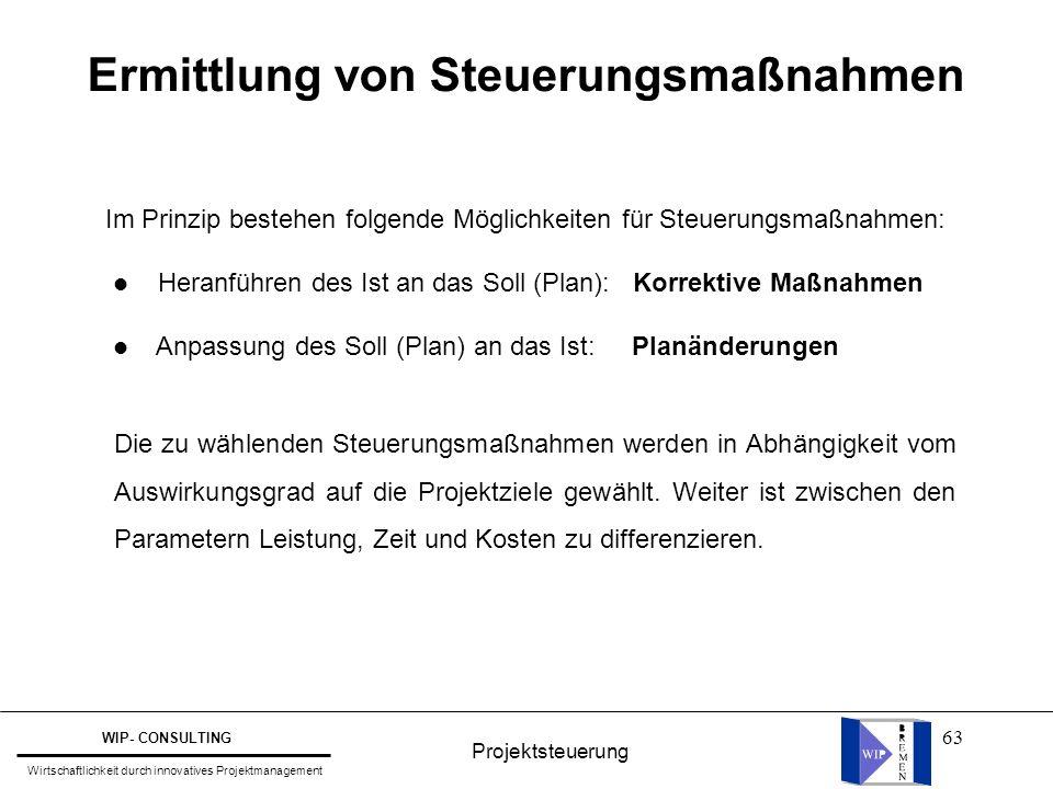 63 Ermittlung von Steuerungsmaßnahmen Im Prinzip bestehen folgende Möglichkeiten für Steuerungsmaßnahmen: l Heranführen des Ist an das Soll (Plan): Ko
