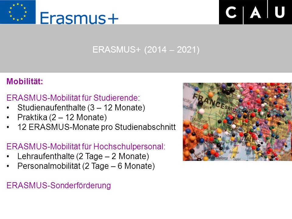 ERASMUS+ (2014 – 2021) Mobilität: ERASMUS-Mobilität für Studierende: Studienaufenthalte (3 – 12 Monate) Praktika (2 – 12 Monate) 12 ERASMUS-Monate pro