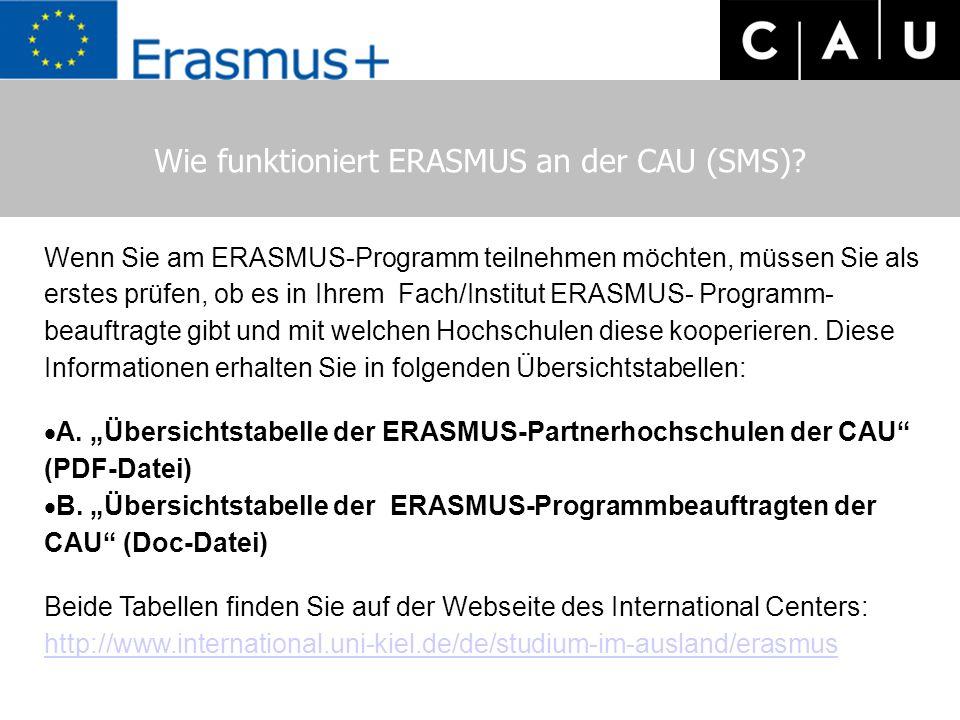 Wie funktioniert ERASMUS an der CAU (SMS)? Wenn Sie am ERASMUS-Programm teilnehmen möchten, müssen Sie als erstes prüfen, ob es in Ihrem Fach/Institut