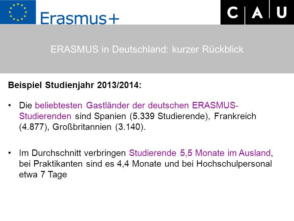 Beispiel Studienjahr 2013/2014: Die beliebtesten Gastländer der deutschen ERASMUS- Studierenden sind Spanien (5.339 Studierende), Frankreich (4.877),